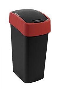 CURVER Abfalleimer Flip Bin 50l in schwarz/rot, Plastik, 29.4×37.6×65.3 cm