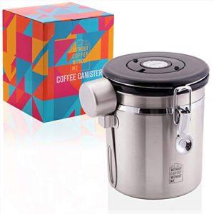 NOUTEN Premium 500g Kaffeedose aus Edelstahl zur Aufbewahrung von Kaffee – Licht- und Luftdichter Vorratsbehälter – Inkl. Edelstahldosierlöffel, Halterung und 2 Ersatzventile!