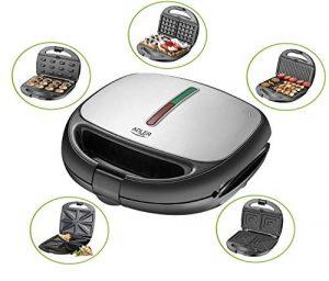 5 in 1 Sandwich Maker | 1200 Watt | 5 auswechselbare Platten | Kontaktgrill | Waffeleisen | Sandwichmaker | Multigrill | Grill | Thermostat | Edelstahlgehäuse | Antihaftbeschichtet | Betriebsampel