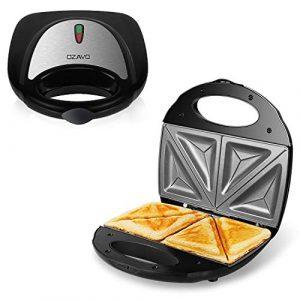 OZAVO Sandwichmaker, Sandwichtoaster 750W mit Antihaftbeschichtung, LED-Anzeigeleuchten, Schwarz, (MEHRWEG)