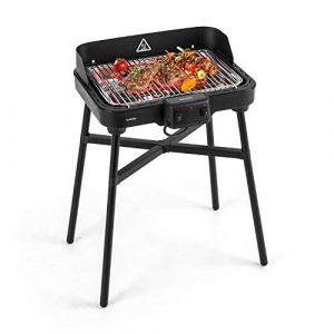 KLARSTEIN Grillkern Elektrogrill – Tischgrill, Standgrill, 1900 + 800 Watt, 400 °C Grilltemperatur, 3 Hitze-Zonen, Doppelheizelement, ReflectorBoost, platzsparend, ideal für Steak, schwarz