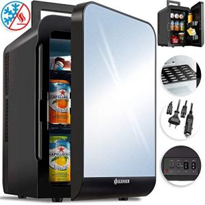 Kesser® 2in1 Mini Kühlschrank 20 Liter | mit Kühl- und Heizfunktion | 60Watt | Tragegriff | Steckdose und am Zigarettenanzünder | 12 Volt Kabel | anschließbar | Warmhaltebox | Mini-Thermobox Schwarz
