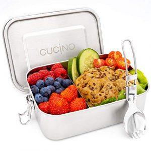 Cucino 100% auslaufsichere Lunchbox mit Fächer & faltbarem Göffel – Brotdose Kinder mit Trennwand, Zero Waste, Bento Box, Edelstahl Brotdose, spülmaschinengeeignet