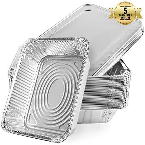 Aluschalen Einweg Schalen aus Aluminiumfolie zum Backen, Kochen, Gefrieren und Aufbewahren von Lebensmittel, Grillschalen mit Deckel, Alu-Tropfschalen (5 Stück)