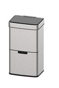 Homra Mülltrennsysteme mit Sensor – 3 Fach Mülleimer – 72 Liter (2×12 + 1×48 L) Design Treteimer aus Edelstahl