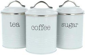 COM-FOUR® 3x Vorratsdosen im Vintage Design, Runde Kaffeedose aus Metall mit Aromaverschluss, Nostalgie Kaffee, Zucker und Teedose im Set (03 Stück – 1000ml grau)