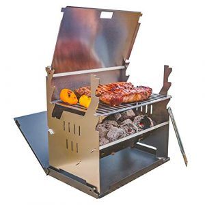 FENNEK portabler Outdoor-Grill I Mobiler Holzkohle-Grill | Laptopgrill für Camping, Angeln, Vanlife, Trekking Outdoor Grill-Spaß aus Edelstahl