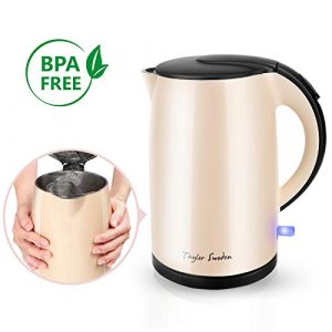 ⭐Taylor Swoden – Wasserkocher Edelstahl   Cool-Touch Doppelwand-Design Wasserkocher   Automatisch Abschaltung   Schnellkoch Wasserkocher   2200 Watt   1,7 Liter Großraum   BPA-frei   Beige