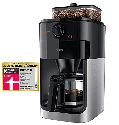 Philips HD7767/00 Grind und Brew Filter Kaffeemaschine, Kunststoff, Edelstahl, Schwarz