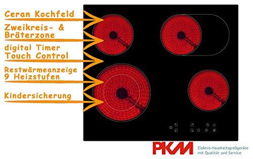 PKM KF4-2KB Rahmenlos Autarkes Kochfeld, Glaskeramik, 60cm