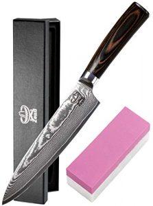 Zeuß XL Küchenmesser Damastmesser (32cm) – Profimesser – Santoku – Kochmesser – Chefmesser – Allzweckmesser – 67 Schichten Japanischem Damaststahl