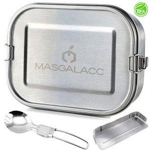 Masgalacc Brotdose Edelstahl mit herausnehmbarer Fächern und zusammenklappbarer Löffel- BPA Frei – Auslaufsicher Bento Box Lunchbox für Kinder und Erwachsene,Brotbüchse,Vesperdose(1200 ML)