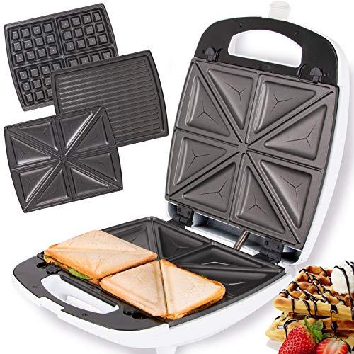 TZS First Austria - 3 in 1 XXL 4er Sandwichmaker Waffeleisen Tischgrill,Klick-System, Thermostat, Backampel, elektrischer Sandwichtoaster, Kontaktgrill, abnehmbare Platten, Cool-Touch Gehäuse