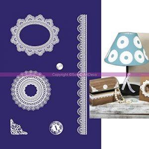Schablone Selbstklebend Zarten Spitzen und Knöpfe, 6Motive, Format A5mit Raclette