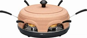Pizzaofen mit Terrakotta Kuppel Elektrisch für 6 Personen Tischgrill (6 Pizzaschaufel, Pizza Maker, Edelstahl Backplatte, Starke 1100 Watt)