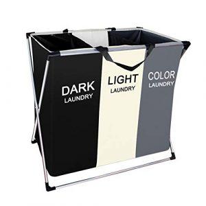 Rayuda Große Faltbare Wäschekorb 3 Fächer, Wäschesack Sortieren von Kleidung spart Zeit, 65 x 59 x 39 cm, 100 L