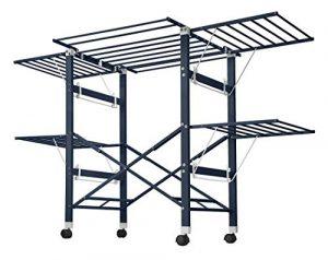NEUN WELTEN Schöner Wäscheständer in Aluminium mit Rollen max Länge177.7cm, max Höhe 131cm – stabil und Schwerlast (Dunkelgrau)