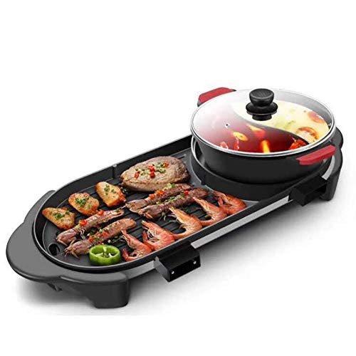 JGWHW Elektrischer Shabu Shabu Hot Pot for den Innenbereich mit Grill, austauschbarem Edelstahl-Hot Pot-Herd oder Bratpfanne und einem Antihaft-Grill von BBQ Teppanyaki
