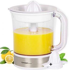 TZS First Austria – 1,5 L Zitruspresse Edelstahl Saftpresse weiß BPA frei, Citrus juicer, Orangensaftpresse, elektrische Zitronenpresse, spülmaschinenfest, Fruchtfleischeinstellung 40W Saftbehälter