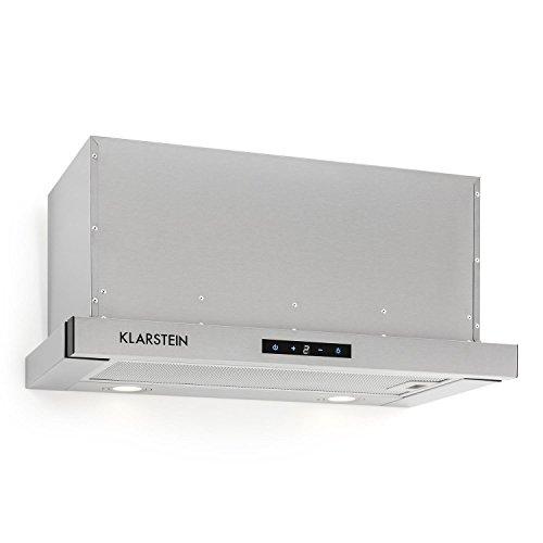 Klarstein Vinea Dunstabzugshaube - Unterbauhaube, 610m³/h max. Abluftleistung, 60 cm, Abluft/Umluft, 3 Leistungsstufen, Beleuchtung, Fettfilter aus Aluminium, inkl. Montagematerial, silber