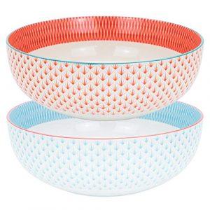 Nicola Spring Große, gemusterte Obst-/Salatschüssel – 1 x Hellblau & 1 x Koralle/Orange Azteken-Design – 284 mm – 2er-Set