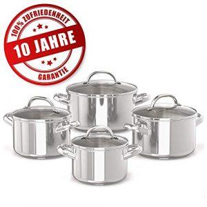 Prestige 10 Jahre Garantie Topfset – 4 Edelstahl-Kochtöpfe mit Glasdeckel – 16, 18, 20 und 24cm Induktionskochtöpfe mit Messskala – Rostfreies Töpfe Set
