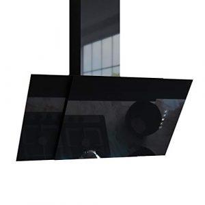 Bergström Dunstabzugshaube BJOERN Glas LED Wandhaube kopffrei Schräghaube Fernbedienung (Schwarz) (90 cm)