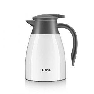 Umi. by Amazon – Thermoskannen Isolierkanne 1,0 L , Edelstahl , Quick Press Verschluss , 100% dicht , für Tee oder Kaffee Druckverschluss hält Getränke 24h kalt und 12h warm