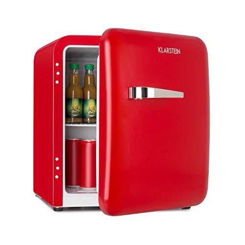 Klarstein Audrey Mini Retro-Kühlschrank - Mini-Kühlschrank, Getränkekühlschrank, Energieeffizienzklasse A+, 48 Liter Fassungsvermögen, 2 Ebenen, Kühltemperatur: 0-10 °C, Flaschenfach, rot