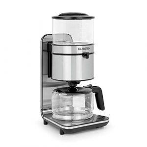 KLARSTEIN Soulmate Kaffeemaschine – Filter-Kaffeemaschine, 1800 Watt, 1,25 Liter, 4 bis 10 Tassen, Schwallbrühverfahren, Glas, Edelstahl, Silber