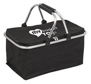 Einkaufskorb faltbar mit Abdeckung, Fassungsvermögen bis zu 30 L My Basket to GO Tragekorb mit Auskleidung aus reißfestem Stoff Eigengewicht nur 0,6 kg fest verschließbar, stabil, SCHWARZ