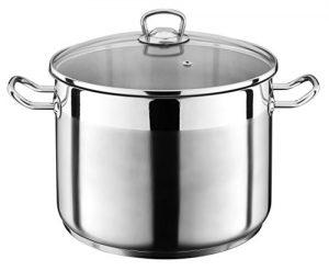 15 Liter Kochtopf mit Glasdeckel Suppentopf Topf Eintopf Universaltopf Silber INDUKTION (15 Liter)