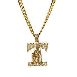 WJMSS Simulierte Micro-Loch gefrieren heraus Bling Prisoner Death Row Anhänger mit Cuban Seil Kette Abschnitt Hip Hop Halskette,Gold