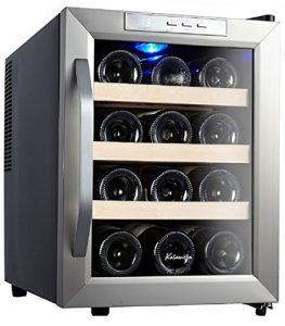 Kalamera KR-12ASS Edelstahl Weinkuehlschrank 33 Liter 12 Flasche Weinklimakuehschrank Minibar Freistehend Temperaturzonen 8-18'C