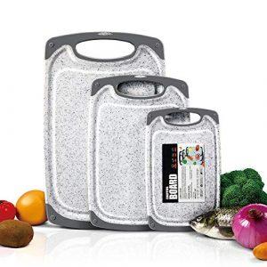 Masthome 3 Stück Schneidebrett Set Kunststoff BPA-frei Rutschfest und Antibakteriell Schneidebrett mit Saftrillen in Verschiedene Größen für Fleisch Gemüse Obst