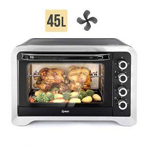 Beleaf Minibackofen 45 L, 2000 Watt mit Timerfunktion, Umluft und Innenbeleuchtung, Drehspieß für 2 Hühnchen, Doppelverglasung, elektrischer Grillofen, Pizza Ofen, herausnehmbares Krümelblech