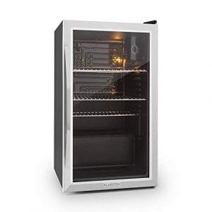 Klarstein Beersafe XXL – Black Edition Getränke-Kühlschrank mit 80 Liter, Energieeffizienzklasse A+, Metallgehäuse mit doppelt isolierter Glastür, 5-10 Grad, niedrige Betriebsgeräusche, schwarz-silber