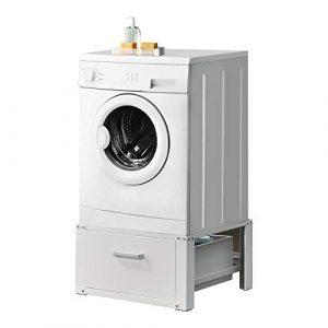 [en.casa] Waschmaschinen-Untergestell mit Schublade und verstärkte Seitenstreben max. bis 150kg Trockner Sockel Podest Stahl Unterschrank Erhöhung
