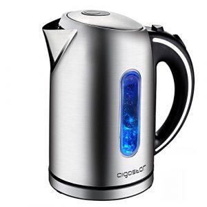 Aigostar King 30CEA – Wasserkocher aus Edelstahl mit LED-Beleuchtung, 2200 Watt mit 1,7 Liter Großraum, kochtrocknender Schutz, BPA frei.EINWEGVERPACKUNG