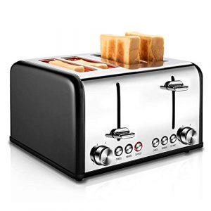 REDMOND Toaster 4 Scheiben 1650W Edelstahl Toaster mit 6 Bräunungsstufen, Brotzentrierung, Aufwärm/Auftau/Abbruch-Funktionen, Abnehmbarer Krümelschublade (Schwarz)
