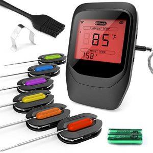 Gifort Digitales Fleischthermometer, Grillthermometer BBQ Thermometermit 6 Sonden, Funk Thermometer Bratenthermometer für Küche, Smoker, Steak, Unterstützt IOS, Android