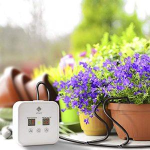 sPlant [Verbessert] Automatisches Bewässerungssystem, automatisches Tropfbewässerungs-Kit mit 30-tägiger digitaler programmierbarer Wasseruhr für 8 Zimmerpflanzen, Bewässerungssystem für Arbeitstage