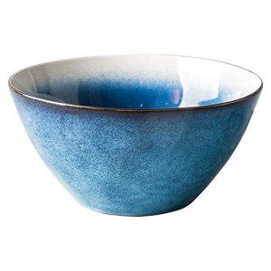 Hoteck Salatschüssel aus Keramik, Groß Porzellan Salatschale Oder Suppenschale 20.5cm,Blau,Traum verlaufend