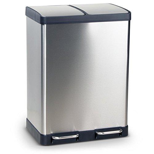 DECORAS Mülleimer Abfalleimer Oslo/Bergen aus Edelstahl Mülltrennsystem für die Küche, erhältlich mit einem Volumen von 40 BZW. 60 Liter, Anti-Fingerabdruck Beschichtung und Soft-Close-Technologie