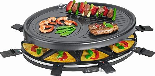 Raclette Grill 8 Personen Grillplatte Tischgrill Elektrogrill Grillplatte Oval (8 Pfännchen, 1400 Watt, Antihaftbeschichtung, Party Grill, Crepe Maker)