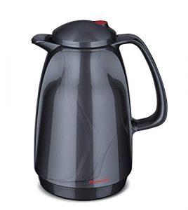 ROTPUNKT Isolierkanne 220 1 Liter (Titan Silver) | Doppelwandige Vakuumisolierung | Zweifunktions-Drehverschluss | BPA Frei- gesundes Trinken | Made in Germany | Warm + Kalthaltung | Glaseinsatz