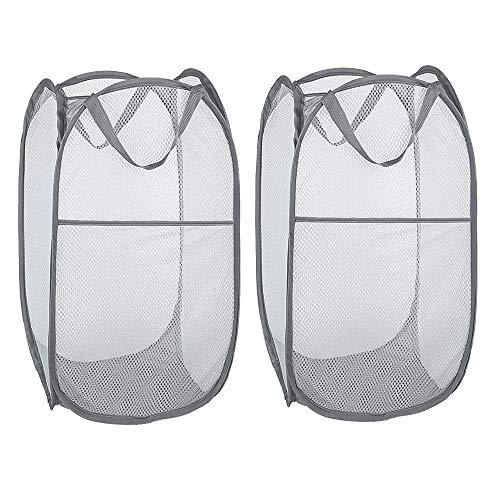 WD&CD Faltbarer Wäschekorb Grau 35 * 35 * 61 cm(2-Stück), Wäscherei Storage Basket Schmutziger Korb Ablagekorb Eimer Runde Lagerung kompatibel für Home Organizer Kinderzimmer