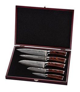 Wakoli Damastmesser Profi Messerset mit Holzbox, VG-10, 33,5 cm bis 19,5 cm, sehr hochwertiges Damast Messer, Japanische Damaszener Küchenmesser mit Edelholz Griffen