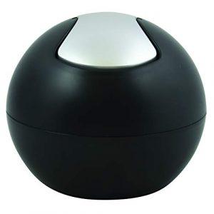 Spirella Kosmetikeimer 1 Liter Abfalleimer Schwingdeckeleimer Tischabfalleimer Bowl Schwarz matt