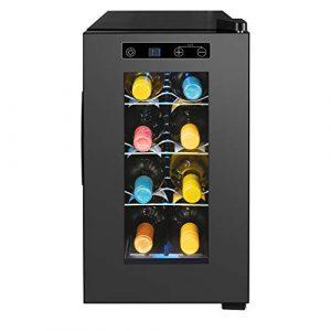 MEDION Weintemperierschrank 21 Liter, Weinkühlschrank für 8 Flaschen, Temperaturbereich 7-18° C, Touch Bedienung, vespiegelte Glastür, freistehend, leise, 3 verchromte Einlegeböden, MD 37430
